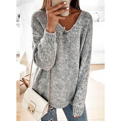 Solid Chunky knit V neck Sweaters