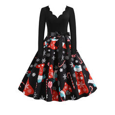 Print Long Sleeves A-line Knee Length Christmas Skater Dresses