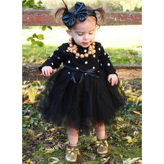 Girls Round Neck Polka Dot Cute Dress