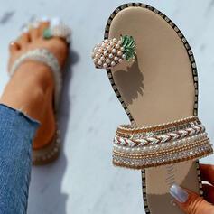 De mujer Lona Tacón plano Sandalias Planos Encaje Pantuflas Anillo del dedo del pie zapatos