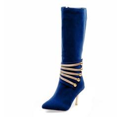 Femmes Suède Talon stiletto Bottes hautes avec Pailletes scintillantes chaussures
