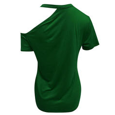 Solide One Shoulder Korte Mouwen Casual Breiwerk t-shirt