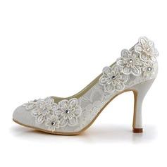 Frauen Spitze Stöckel Absatz Geschlossene Zehe Absatzschuhe mit Strass Blume
