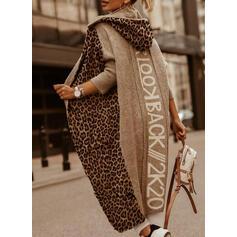 Print Color block Leopard Med hætte Casual Lang Cardigan