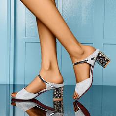 Női PU Chunky sarok Szandál Peep Toe Papucs -Val Hegyikristály Szegecs cipő