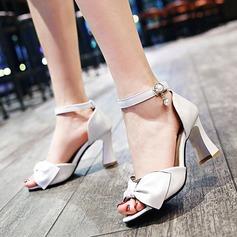 Femmes Similicuir Talon bottier Sandales Escarpins À bout ouvert avec Strass Bowknot Boucle chaussures