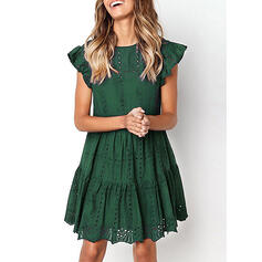 Solid Short Sleeves A-line Knee Length Casual Skater Dresses