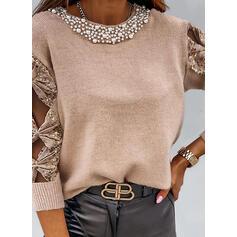 Einfarbig Pailletten Perlen Rundhalsausschnitt Freizeit Pullover