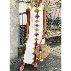 Geometric Print Sleeveless Shift Maxi Casual/Boho Dresses