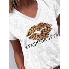 Estampado Leopardo Decote em V Manga Curta Casual Camisetas
