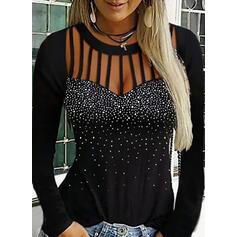 Paillettes Girocollo Maniche lunghe Casuale Camicie