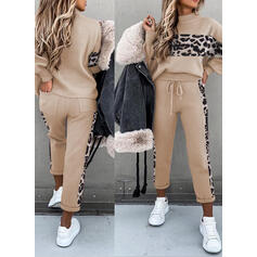 Patchwork Leopard Casual Sporty Suits