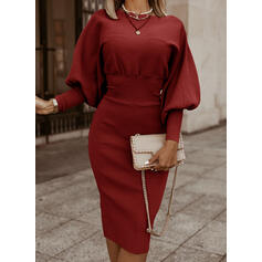 Solid Long Sleeves/Lantern Sleeve Bodycon Knee Length Little Black/Casual/Elegant Pencil Dresses