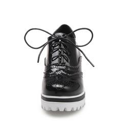 Femmes Cuir verni Talon compensé Bout fermé Compensée avec Dentelle chaussures