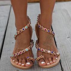 PU Flascher Absatz Sandalen Flache Schuhe Peep Toe Zehenring mit Kristall Schuhe