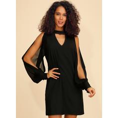 Solid Long Sleeves/Cold Shoulder Sleeve Shift Above Knee Little Black/Casual Dresses