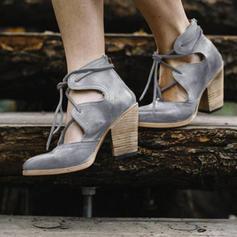 Mulheres Couro Salto robusto Bombas com Aplicação de renda sapatos
