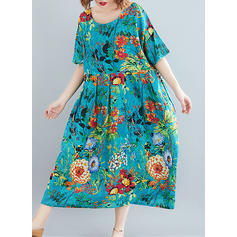 Print/Floral 1/2 Sleeves Shift Midi Casual Dresses