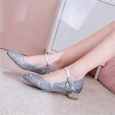 Kvinder Mousserende Glitter Stor Hæl Pumps Mary Jane med Paillet sko