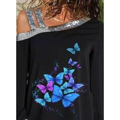 Zvířecí potisk Flitry Jedno rameno Dlouhé rukávy Neformální Bluze