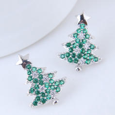 Christmas Tree Zircon Copper Earrings Christmas Jewelry