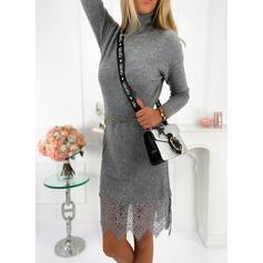 レース/固体 長袖 シースドレス 膝丈 カジュアル セーター ドレス