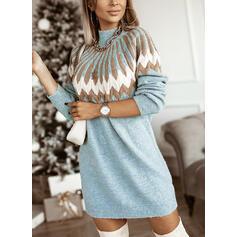 Print Turtleneck Casual Sweaters