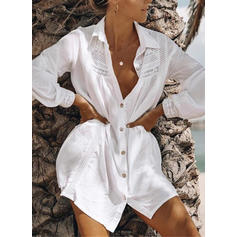 Solid Color V-neck Elegant Fashionable Classic Cover-ups Swimsuits