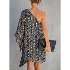 Print Long Sleeves Shift Above Knee Party/Elegant Dresses
