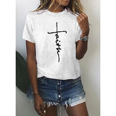 Print Round Neck Short Sleeves Casual Knit Blouses
