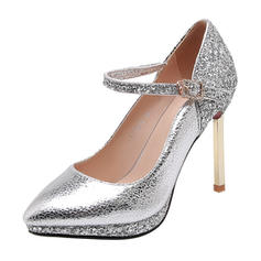 Women's Patent Leather Stiletto Heel Pumps Platform With Sequin Buckle shoes