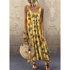 Print Sleeveless Shift Tank Casual/Vacation Maxi Dresses