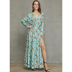 Print 1/2 Sleeves A-line Casual/Elegant/Vacation Maxi Dresses