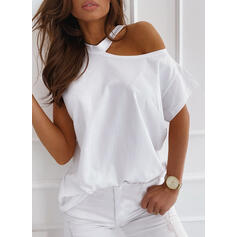 Solid One-Shoulder Short Sleeves Casual T-shirts