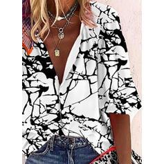 Εκτύπωση V-λαιμός 3/4 Μανίκια Χωρίς Κουμπιά Κολάρου Καθημερινό Μπλούζες Πουκάμισα