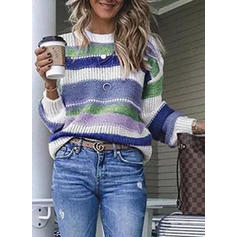 Color Block Ribbed Round Neck Sweaters