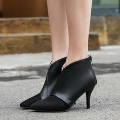 Mulheres PU Salto agulha Bombas Botas com Zíper sapatos