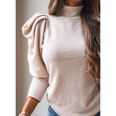 Solid Turtleneck Casual Knit Tops