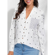PolkaDot Lapel Long Sleeves Casual Shirt Blouses