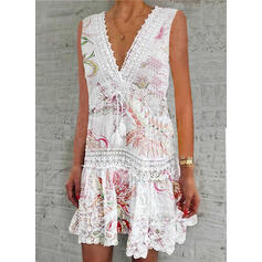 Lace/Print/Floral Sleeveless Shift Above Knee Casual Tank Dresses