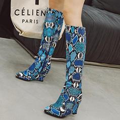 Donna PU Zeppe Stivali altezza media con Animale Stampa Cerniera scarpe