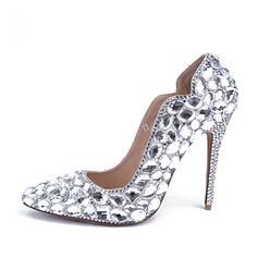 Women's Patent Leather Stiletto Heel Closed Toe Pumps With Rhinestone Crystal Heel