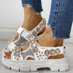 Donna Panno Mesh Senza tacco Sandalo Punta aperta con Strass Velcro scarpe