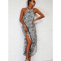 Print/Backless Sleeveless Shift Casual/Vacation Maxi Dresses