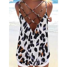 λεοπάρδαλη Σπαγγέτι Strap Αμάνικο Μπλουζάκια
