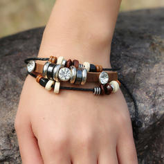Vintage Alloy Rhinestones Leather Rope With Rhinestone Women's Fashion Bracelets (Sold in a single piece)