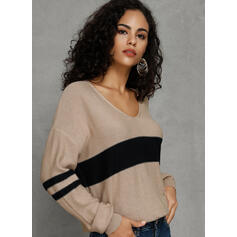 Color Block V-Neck Casual Loose Sweaters