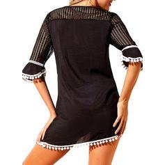 Splice color V-neck Cute Plus Size Cover-ups Swimsuits