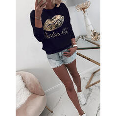 Leopard Figure Beaded Round Neck Long Sleeves Sweatshirt
