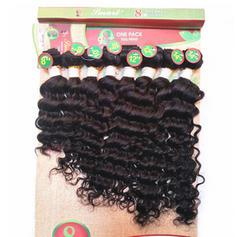 Kinky Curly Synthetic Hair Human Hair Weave 8pcs